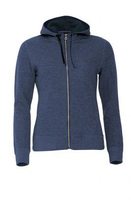 Classic Hoody Full Zip Ladies Blue Melange
