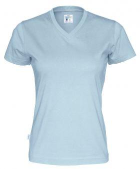 T-Shirt V-Neck Lady Sky Blue