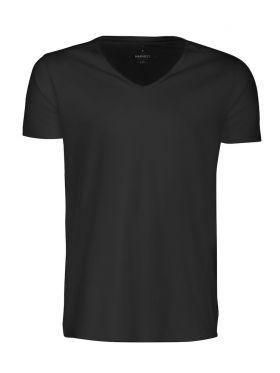 Whailford Organic Slub V-neck Black