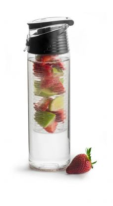 Fresh flaske med fruktbeholder låsbar, sort