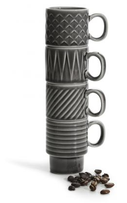 Coffee & More espressokopp 4-pk, grå