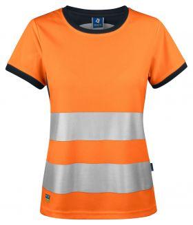 6012 T-SKJORTE DAME EN ISO 20471 KLASSE 2 Orange/Black