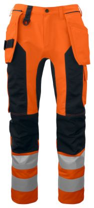 6513 Håndverksbukse Kl 2/1 Orange/Black