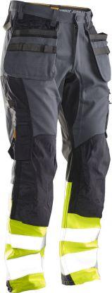 2134 Håndverksbukse Core Stretch Varsel Dark Grey/Yellow