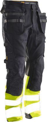 2134 Håndverksbukse Core Stretch Varsel Black/Yellow
