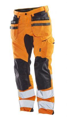 2240 Håndverksbukse Stretch Varsel Orange/Black