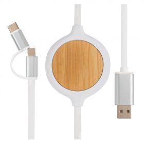 3-in-1 kabel med 5W bambus trådløs lader
