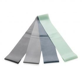 4-pakk elastiske treningsbånd i pouch