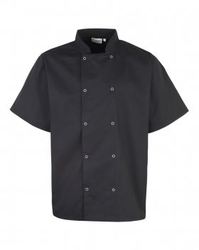 Studded Front Chefs Jacket S/S Sort