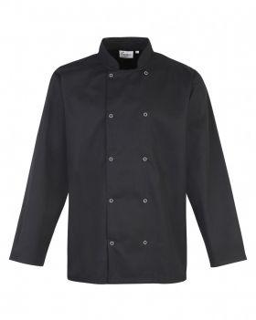 Studded Front Chefs Jacket L/S Sort
