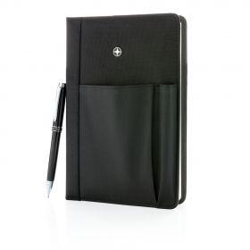 Swiss Peak notatbok og penn sett