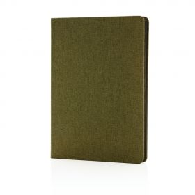 Deluxe stoff notatbok med sort kant