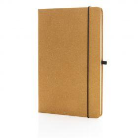 A5 notatbok med stive permer i resirkulert lær Brun