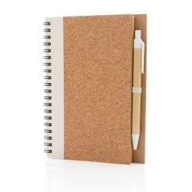 Spiralbok i kork, med penn hvit
